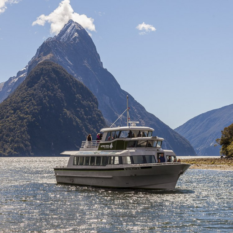 Enjoy the classic views of Mitre Peak while you cruise the fiord