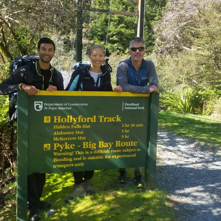 We made it! Photo at the end of the Hollyford Track