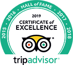 TripAdvisor - Certificate of Excellence - Hall of Fame 2015, 2016, 2017 & 2018